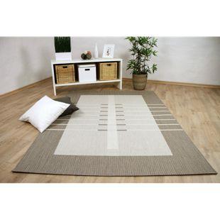 In- und Outdoor Teppich Flachgewebe Carpetto Bordüre Trend Beige... 80x150 cm