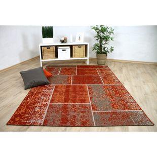 In- und Outdoor Teppich Flachgewebe Carpetto Terrakotta Patchwork... 80x150 cm
