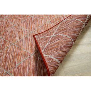 In- und Outdoor Teppich Beidseitig Flachgewebe Hampton Karo Terrakotta... 80x150 cm