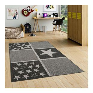 In- und Outdoor Teppich Beidseitig Flachgewebe Newport Anthrazit Sterne... 80x150 cm
