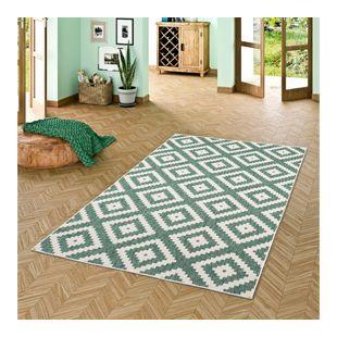 In- und Outdoor Teppich Beidseitig Flachgewebe Newport Grün Modern Karo... 80x150 cm