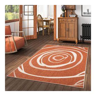 In- und Outdoor Teppich Beidseitig Flachgewebe Newport Terrakotta Kreise... 80x150 cm