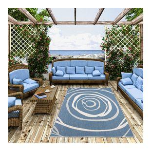 In- und Outdoor Teppich Beidseitig Flachgewebe Newport Blau Kreise... 80x150 cm
