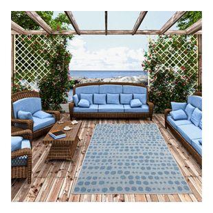 In- und Outdoor Teppich Beidseitig Flachgewebe Newport Blau Grau Punkte... 80x150 cm