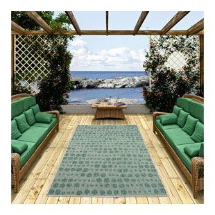 In- und Outdoor Teppich Beidseitig Flachgewebe Newport Grün Creme Punkte... 80x150 cm