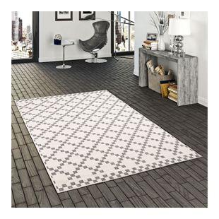 In- und Outdoor Teppich Beidseitig Flachgewebe Newport Modern Karo Silber... 80x150 cm