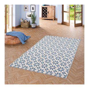In- und Outdoor Teppich Beidseitig Flachgewebe Newport Fliesenoptik Blau Creme... 80x150 cm
