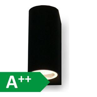 Wandleuchte für Aussen + Innen, 2x GU10, UpDown black, 10217