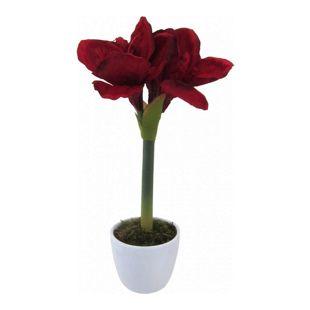 Kunstpflanze Amaryllis dunkelrot im Keramiktopf