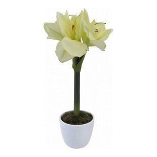 Kunstpflanze Amaryllis creme im Keramiktopf