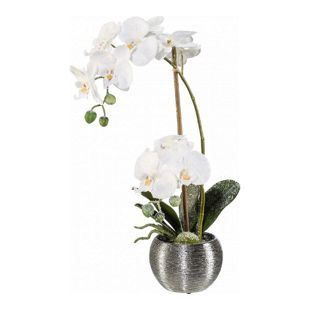 Kunstpflanze Phalenopsis mit Schnee im Silbertopf