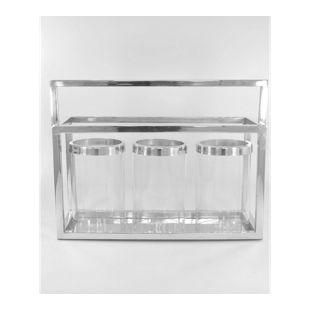 HTI-Line Laterne mit 3 Gläsern Chrom