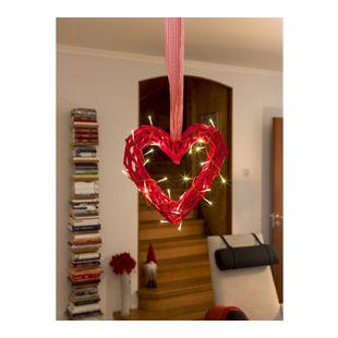 KONSTSMIDE LED Holzsilhouette Herz mit 30 warm weißen Dioden