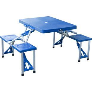 Outsunny Campingtisch mit 4 Sitzer blau 135 x 85 x 67 cm (LxBxH) | Klapptisch Picknicktisch Sitzgruppe Koffertisch