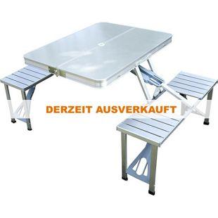 Outsunny Klapptisch mit 4 Sitzer silber 135 x 85 x 67 cm (LxBxH) | Picknicktisch Campingtisch Koffertisch 4er Gruppe