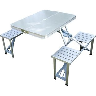 Outsunny Klapptisch mit 4 Sitzer silber 135 x 85 x 67 cm (LxBxH)   Picknicktisch Campingtisch Koffertisch 4er Gruppe