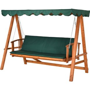 Outsunny Hollywoodschaukel mit Sonnendach grün, natur 235 x 127 x 178 cm (LxBxH)   Gartenschaukel Schaukelbank Liegefunktion 3er-Sitz