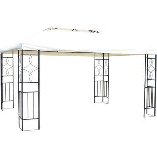 Outsunny Gartenpavillon für die ganze Familie cremeweiß, schwarz 400 x 300 x 270 cm (LxBxH) | Partyzelt Bierzelt Gartenzelt Metall-Pavillon