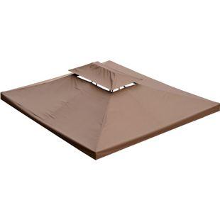 Outsunny Ersatzdach für Metall Gartenpavillon kaffeebraun 3 x 4 m (BxL) | Dach Gartenpavillon Metall-Pavillon Partyzelt