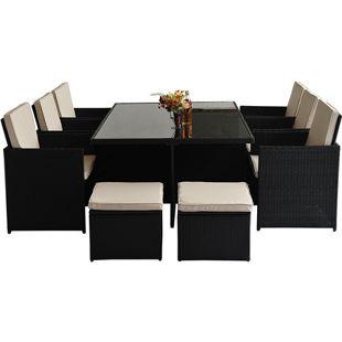Outsunny Polyrattan Gartenmöbel als 27 teiliges Set schwarz, khaki | Loungemöbel Sitzgruppe Gartengarnitur Möbelset