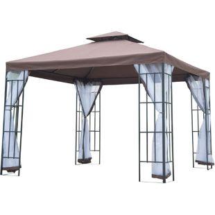 Outsunny Gartenpavillon mit Doppeldach kaffeebraun, weiß, schwarz 300 x 300 x 270 cm (LxBxH)   Luxus Pavillon Partyzelt Festzelt Gartenzelt