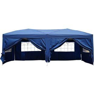 Outsunny Faltzelt inklusive 6 Seitenteile blau ca. 3 x 6 m (BxL) | Faltpavillon Partyzelt Bierzelt Gartenzelt
