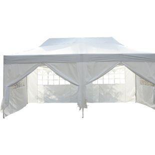 Outsunny Gartenzelt mit Seitenwänden weiß 6 x 3 x 3,3 m (LxBxH) | Faltpavillon Partyzelt Faltzelt Bierzelt Pavillon