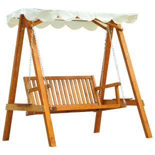 Outsunny Hollywoodschaukel als 2-Sitzer cremeweiß, natur 162 x 122 x 184 cm (LxBxH)   Schaukel mit Sonnendach Schaukelbank Gartenschaukel