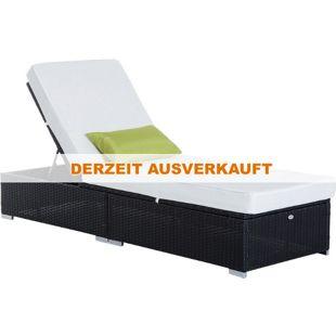 Outsunny Rattanliege mit verstellbarer Rückenlehne cremeweiß, schwarz 195 x 68 x 31 cm (LxBxH)   Gartenliege Rattanliege Gartenmöbel Polyrattan