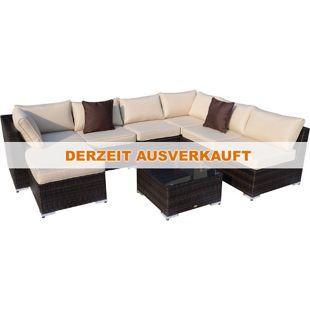 Outsunny Polyrattan Gartenmöbelset inklusive Kissen kaffeebraun, khaki | Polyrattan Gartengarnitur Gartenset Loungeset