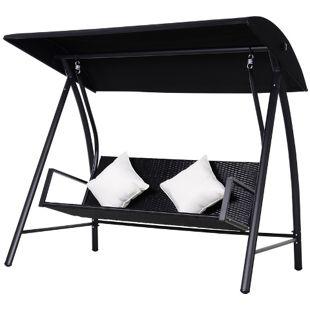Outsunny Hollywoodschaukel mit Kissen schwarz 198 x 124 x 179 cm (LxBxH)   Gartenschaukel Polyrattan Schaukel Schaukelbank