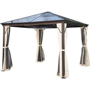 Outsunny Luxus Pavillon mit lichtdurchlässigem Dach braun, natur 300 x 300 x 260 cm (LxBxH)   Gartenpavillon Gartenzelt Festzelt Partyzelt