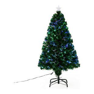 HOMCOM Weihnachtsbaum inklusive Ständer grün | Tannenbaum Deko Christbaum Lichtfaser blinkend