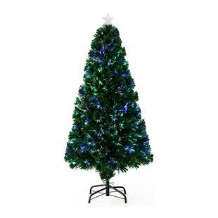 HOMCOM Weihnachtsbaum inklusive Metallständer grün | Christbaum Lichtfaser blinkend Tannenbaum Deko