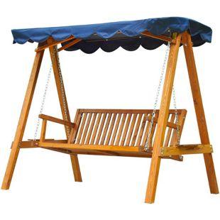 Outsunny Hollywoodschaukel als 3-Sitzer blau, natur 200 x 130 x 184 cm (LxBxH)   Gartenschaukel Schaukel Schaukelbank Gartenbank