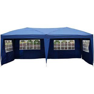 Outsunny Faltpavillon inklusive 4 Seitenteile blau, weiß, transparent ca. 600 x 300 x 255cm (LxBxH) | Faltzelt Gartenzelt Partyzelt Pavillon Bierzelt