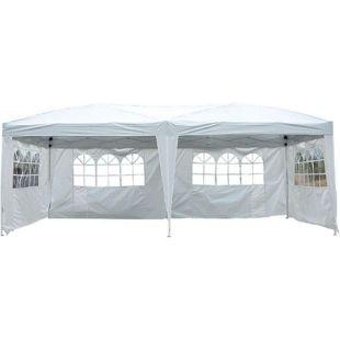 Outsunny Gartenpavillon inklusive 4 Seitenteile weiß, transparent ca. 600 x 300 x 255 cm (LxBxH)   Gartenzelt Partyzelt Bierzelt Faltzelt Pavillon