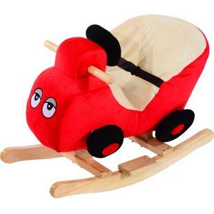 HOMCOM Kinder Schaukelwippe als Auto rot 60 x 33 x 45 cm (LxBxH) | Schaukelpferd Schaukeltier Plüsch Spielzeug