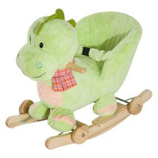 HOMCOM Schaukeltier als Drache grün 60 x 35 x 45 cm (LxBxH) | Schaukelpferd Schaukeldrache Baby Schaukelplüsch