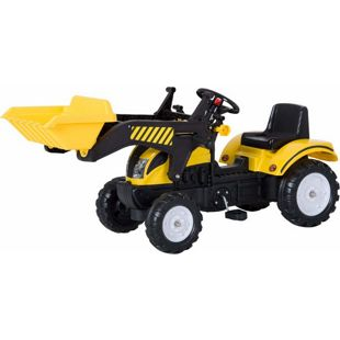HOMCOM Trettraktor mit Fontlader schwarz,gelb 114 x 41 x 52 cm (LxBxH) | Tretauto Traktor Kinderfahrzeug Kinderspielzeug