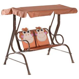 HOMCOM Kinder Hollywoodschaukel im Affen-Design braun 115 x 75 x 110 cm (LxBxH)   Gartenschaukel für Kids Schaukelbank mit Sonnendach