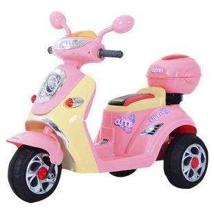 HOMCOM Kinderelektroroller rosa 108 x 51 x 75 cm (LxBxH) | Kindermotorrad Kinderauto Kinder Elektrotraktor