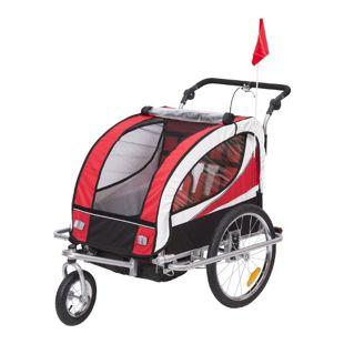 HOMCOM 2 in 1 Fahrradanhänger für 2 Kinder rot, schwarz 106 x 90 x 105 cm (LxBxH) | Kinderanhänger Kinderjogger Kinderwagen Anhänger