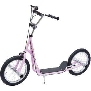 HOMCOM Kinderroller höhenverstellbar rosa 125 x 58 x 80-90 cm (LxBxH)   Scooter Kinder Tretroller Cityroller Kickboard
