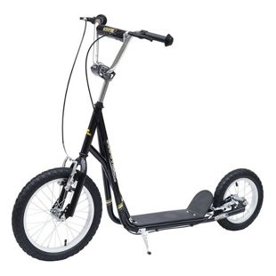 HOMCOM Kinder Tretroller mit höhenstellbarem Lenker schwarz, silber 125 x 58 x (80-90) cm (LxBxH) | Scooter Cityroller Roller Bike City Tretroller