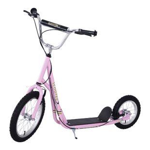HOMCOM Scooter mit höhenstellbarem Lenker pink, schwarz, silber 125 x 58 x (80-90) cm (LxBxH) | City Tretroller Kinder Cityroller Kinderroller