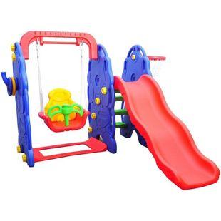 HOMCOM Kinderrutsche mit Schaukel bunt 164 x 167 x 120 cm (LxBxH) | Gartenrutsche Babyrutsche Spielzeug Rutsche