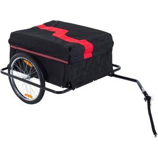 HOMCOM Transportanhänger für Fahrräder schwarz, rot 140 x 88 x 60 cm (LxBxH) | Fahrradanhänger Cargo-Trailer Lasten-Fahrradanhänger