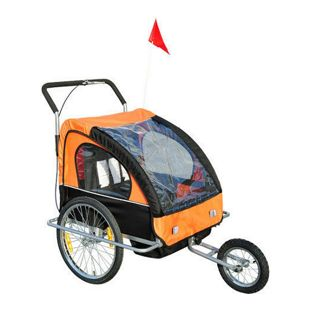 HOMCOM 2 in1 Kinderfahrradanhänger 90 x 122 x 106 cm (BxLxH) | Jogger Fahrradanhänger Kinder Radanhänger