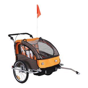 HOMCOM Kinderanhänger 2 in 1 – Fahrradanhänger und Jogger 125 x 88 x 107 cm (LxBxH) | Fahrradanhänger Jogger Kinderfahrradanhänger